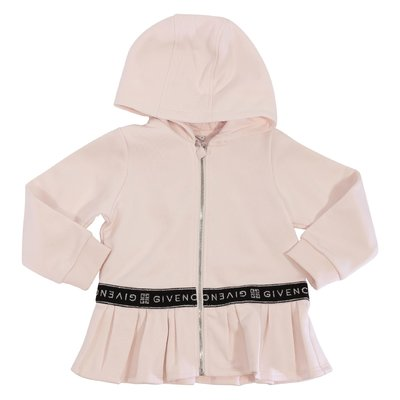 Pink logo detail cotton sweatshirt dress with hood