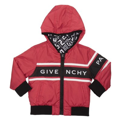 Red nylon zip-up reversible jacket with hood