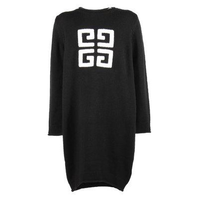Black logo wool & cashmere knit dress