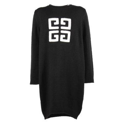 Black logo wool & cashmere knit dress
