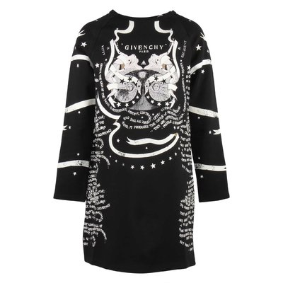 Black printed cotton sweatdress