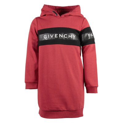 Red logo cotton sweatshirt hoodie dress