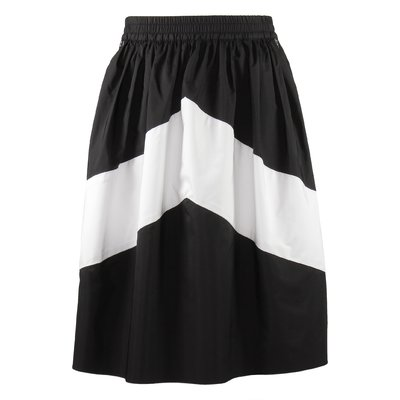 Black and white techno fabric skirt