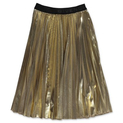 Givenchy gold techno fabric pleated skirt