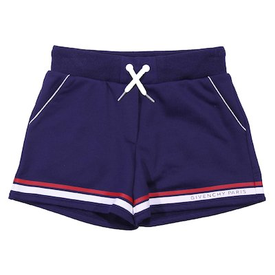 Navy blue cotton blend shorts