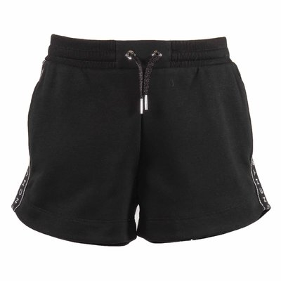 Black logo detail cotton shorts