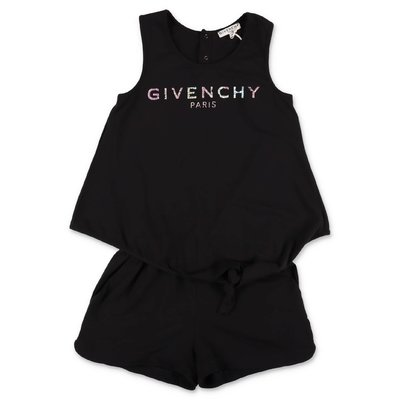 Givenchy black Vintage logo cotton jersey layered effect overalls