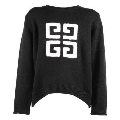 Pullover nero in maglia di lana e cashmere