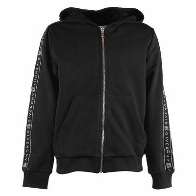 Black zip-up cotton hoodie