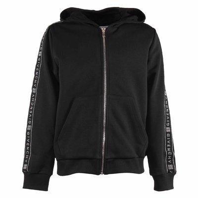 Black zip-up cotton hoodie