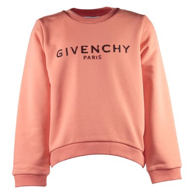 Salmon pink vintage logo detail cotton sweatshirt