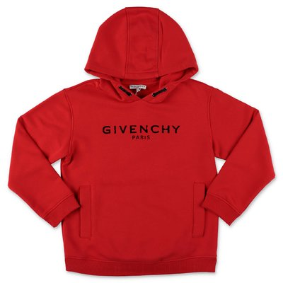 Givenchy red logo detail cotton hoodie
