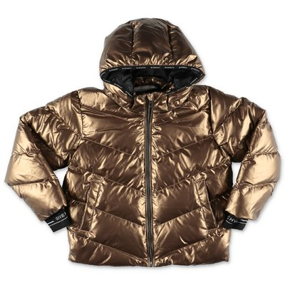 Givenchy bronze color coated nylon hooded down feather jacket