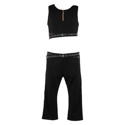 Tuta nera in cotone stretch con top e leggings