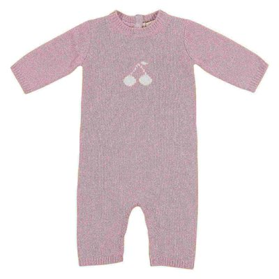 pink cashmere knit baby romper