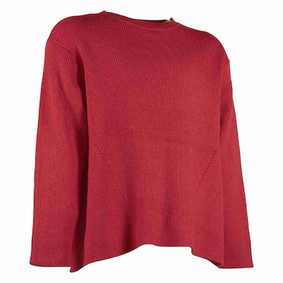 Bonpoint red mixed wool girl ribbed jumper