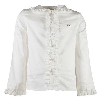 Blusa bianca in popeline di cotone con ruches