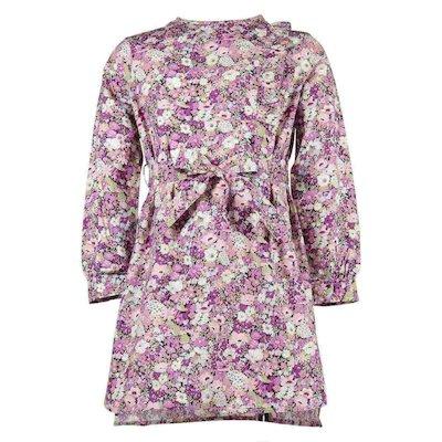 cotton poplin floral print asymmetric ruffle dress