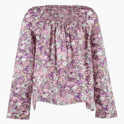 floral print cotton poplin girl blouse