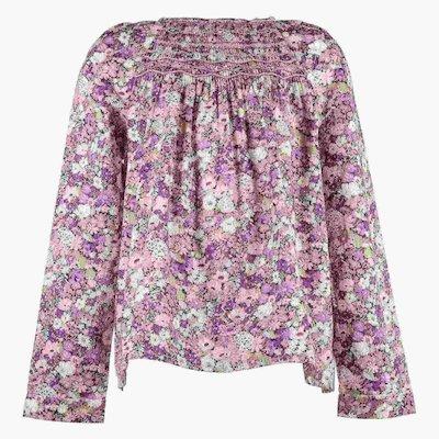 floral print cotton poplin girl blouse