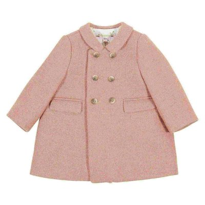 Pink virgin wool blend double-breasted coat