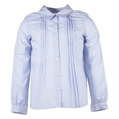 cotton poplin pleat detail shirt