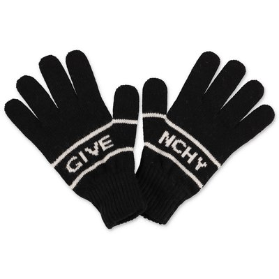 Givenchy black wool blend knit gloves