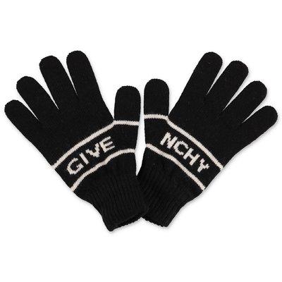 Givenchy guanti neri in maglia di misto lana