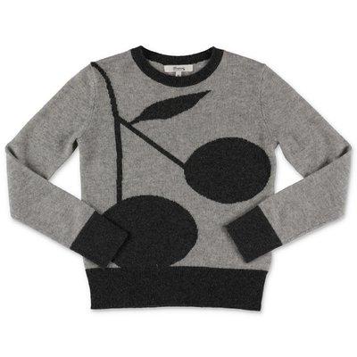 Bonpoint pullover grigio in puro cashmere con Iconico motivo