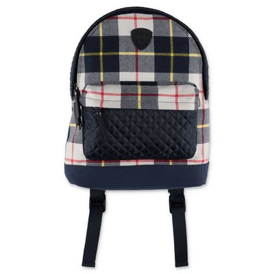 Bonpoint tartan cotton backpack with quilted details