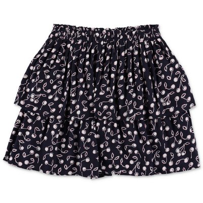 Bonpoint dark blue printed viscose skirt