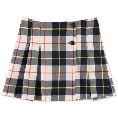 Bonpoint tartan pleated pure wool skirt