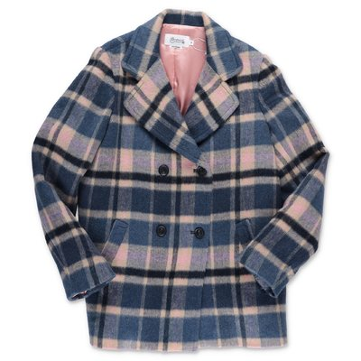 Bonpoint checked wool blend coat