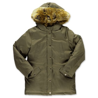 Bonpoint military green waterproof parka jacket with hood