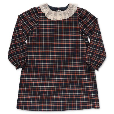 Bonpoint blue tartan cotton & wool dress