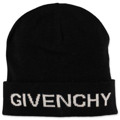 Givenchy berretto nero in maglia di cotone e cashmere con logo