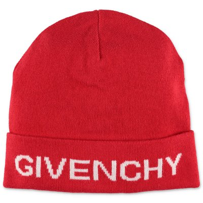 Givenchy berretto rosso in maglia di cotone e cashmere con logo