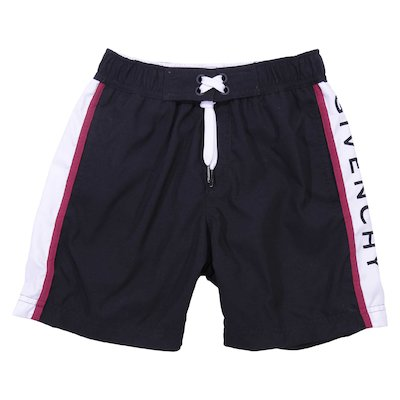 Logo detail black nylon swim shorts