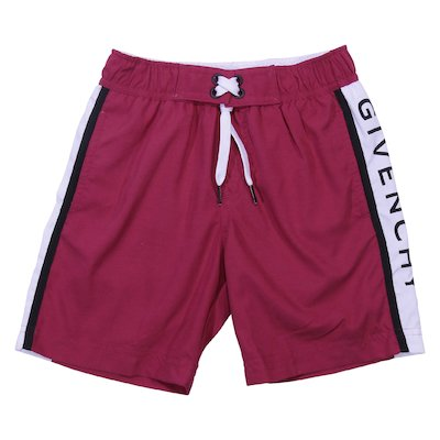 Logo detail red nylon swim shorts