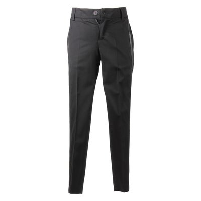 Black logo wool pants
