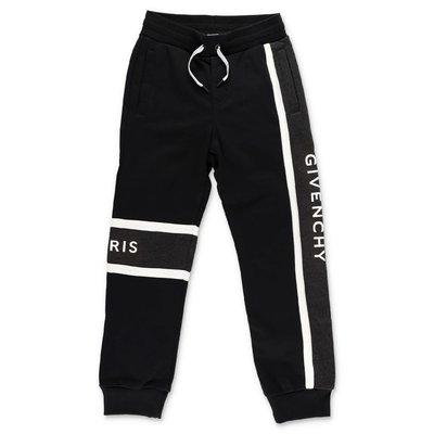 Givenchy pantaloni neri in felpa di cotone con logo
