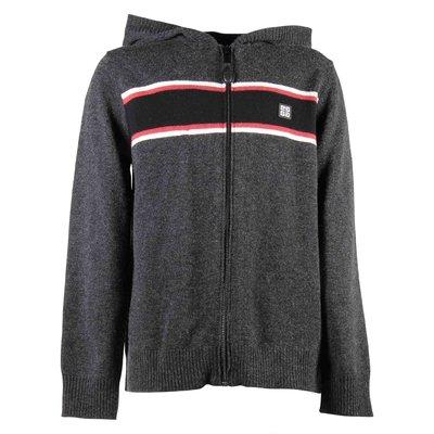 Cardigan nero in lana e cashmere con cappuccio bambino