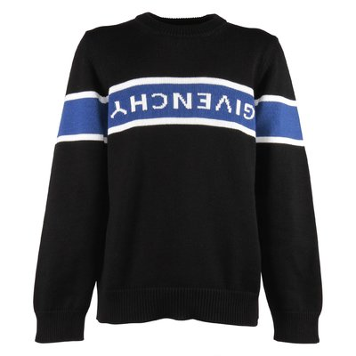 Black jacquard logo detail cotton knit jumper