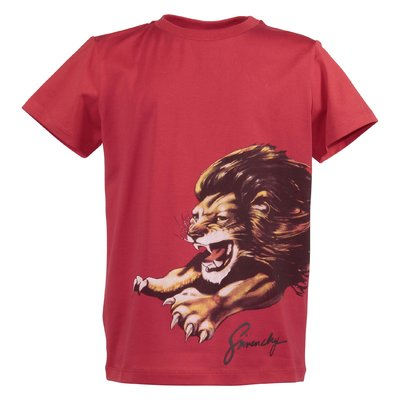 Red cotton jersey Lion t-shirt