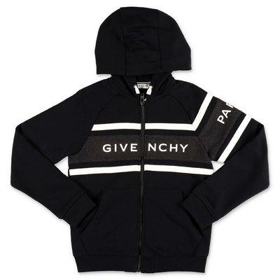 Givenchy felpa nera in cotone con logo e cappuccio