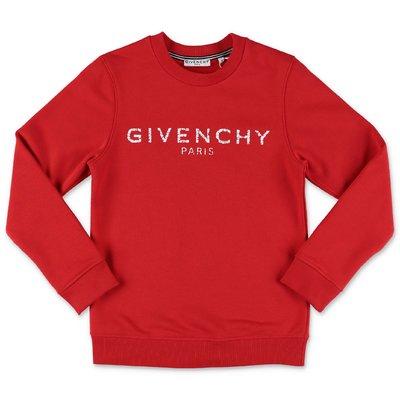 Givenchy felpa rossa in cotone con logo Vintage
