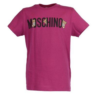 T-shirt fucsia in jersey di cotone con logo