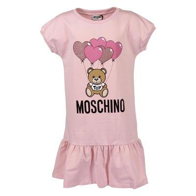 Pink logo detail cotton jersey Teddy Bear dress