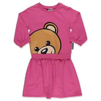 MOSCHINO abito fucsia Teddy Bear effetto due pezzi in cotone