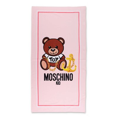 MOSCHINO Teddy Bear pink terrycloth cotton beach towel